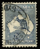 Lot 525 [1 of 4]:2½d Indigo showing 4 listed varieties (i) Retouched 'A', (ii) Islands of WA, (iii) Heavy Coastline to WA, (iv) Islands off Cape York. Generally fine. BW #10(2)d,f,g,l, Cat $550. (4)