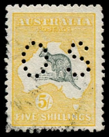 Lot 51:5/- Deep Grey & Yellow perf small 'OS', BW #43. Reasonably centred. Few short perfs at base. Cat $700.