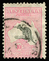 Lot 232:10/- Grey & Pink BW #49, good used. Retail $650.