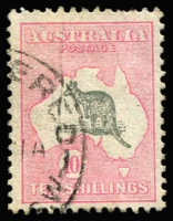 Lot 89:10/- Grey & Pink BW #49, good used. Retail $650.