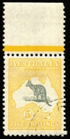 Lot 579:5/- Grey & Yellow-Orange variety Long (hooked) tail and Spencer's Gulf short [R5] BW #45(D)j, CTO marginal with gum, Cat $650. Ex Hardy.