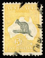 Lot 264:5/- Grey & Yellow-Orange BW #45, crease not visible on face, peripheral clear of design, Cat $250.