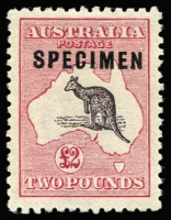 Lot 572:£2 Purple-Black & Rose optd 'SPECIMEN' type C Sub-type 1 (damaged 'C'), BW #56xd, very well centred, without gum, Cat $1,000. Ex Hardy.