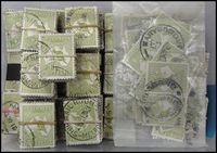 Lot 211:3d Olive singles in bundles of 100 x25 and 50 units in pairs, few perfins. (2,600)