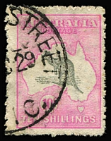 Lot 591 [1 of 2]:5/- Grey & Yellow (one pulled perf), 10/- grey & aniline pink (fluffy perfs), both appear to have been cancelled on the same day. BW #44,48E. (2)