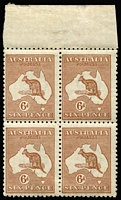 Lot 283:6d Chestnut marginal block of 4 [L5-6, 11-12] with broken leg variety, upper 2 units incl variety. MUH. BW #21(3)d.