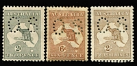 Lot 281 [2 of 2]:Perf Small 'OS' 2d, 6d chestnut (toned & disturbed gum), 2/- brown (trimmed at base), also 1st Wmk 5d (hinge remains). (4)