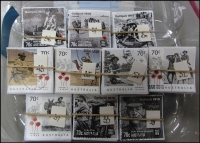 Lot 258:2015 Sheet Stamps WWI Centy 70c Landing (36), Jacka VC (28), Trench (33), Simpson & Donkey (36), Firing Gun (30), Animals in War 70c Pack Mule (39), Soldier with dog (43), 2 Troopers on horseback (32) Camel Corps (35), Soldier with pigeon (51). All cut close. (360+)