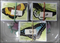 Lot 239:2016 Sheet Stamps Butterflies $1 Rustic (114), Birdwing (96), Pale Triangle (117). All cut close. (327)