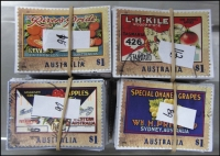 Lot 262:2016 Sheet Stamps Fruit Labels $1 WA Apples (92), Grapes (89), Oranges (91), Tas Apples (113). All cut close. (385)
