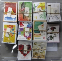 Lot 248:2016 Sheet Stamps Greetings $1 Map (101), Flowering Gum (102), Wattle (67), Handprints (83), Cake (75), Balloons (105), White rose (43), Glasses (83), Heart (38), 2017 $1 Red rose (43). All cut close. (740)