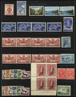 Lot 284 [2 of 2]:1913-65 Accumulation on 13 Hagners incl range 1930s 2d & 3d commems, 1932 Large Kooka, 1937-49 5/- Robes imprint block, 1948-56 Arms 5/-, 10/-, 1953 Food Strips (2 sets), 2/- commems (14), 2/3d commems (74 incl complete sheet of 1963 Cable), 1964 Birds, plus selection of QE low value commems & defins. Retail $330++. Generally fine. (Few 100s)