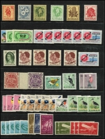 Lot 284 [1 of 2]:1913-65 Accumulation on 13 Hagners incl range 1930s 2d & 3d commems, 1932 Large Kooka, 1937-49 5/- Robes imprint block, 1948-56 Arms 5/-, 10/-, 1953 Food Strips (2 sets), 2/- commems (14), 2/3d commems (74 incl complete sheet of 1963 Cable), 1964 Birds, plus selection of QE low value commems & defins. Retail $330++. Generally fine. (Few 100s)