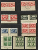 Lot 332 [1 of 2]:1932-50s Collection of imprint pairs incl 1932 2d Bridge (both types) CTO on FDI, with Perth Registration cds, 1934 Vic Centenary P11½ 1/- (MLH), 1937 NSW Sesqui 2d & 9d (MLH), imprint blocks of 4 incl 1935 Jubilee 3d (MUH), plus range of KGVI low values imprint blocks. Generally fine. (150+)