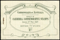 Lot 291 [1 of 2]:1927 Canberra 2/- Booklet very fresh, BW #B38, Cat $125.