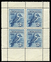 Lot 582:1928 3d Kookaburra Miniature Sheet from base of sheet. BW #133, Cat $275.