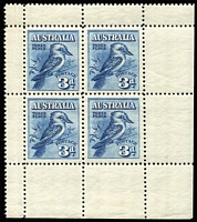 Lot 583:1928 3d Kookaburra Miniature Sheet from lower right corner of sheet, BW #133, Cat $275,.