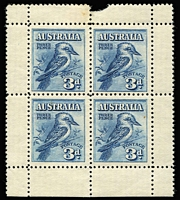 Lot 335:1928 Kookaburra Miniature Sheet 'space filler', BW #133, Cat $200.