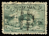 Lot 336:1932 5/- Sydney Harbour Bridge commercially used spacefiller. BW #148.