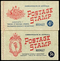 Lot 333 [2 of 2]:1953-59 Booklets 1953-57 [3½d] 3/6d, (B57), 1957-59 [4d] 4/- (B60Bw-stapled re-make), also [4d] 4/- (B60C). (3)