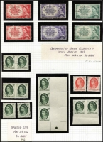 Lot 334 [2 of 5]:1953-66 Defin Collection incl 1956 No wmk 3½d cnr block of 8, one unit Re-entry [R4/7], 1963 5d deep-green comprising block of 15 (6 pairs imperf between vertically and strip of 3 wide imperf at left),  strip of 3 wide imperf at right and several imperf between pairs.  1964 'T.P.O. 2 WEST/3/NSW-AUST.' cds on cover, 1966 4c Queen marginal block of 20 showing partial '21' at top and unit R2-9 with ear-ring flaw, 1967 5c Queen with superb off-set on reverse. Several QE issues with minor varieties. (Approx 150 & 2 covers)