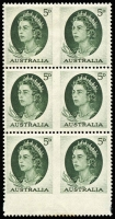 Lot 334 [1 of 5]:1953-66 Defin Collection incl 1956 No wmk 3½d cnr block of 8, one unit Re-entry [R4/7], 1963 5d deep-green comprising block of 15 (6 pairs imperf between vertically and strip of 3 wide imperf at left),  strip of 3 wide imperf at right and several imperf between pairs.  1964 'T.P.O. 2 WEST/3/NSW-AUST.' cds on cover, 1966 4c Queen marginal block of 20 showing partial '21' at top and unit R2-9 with ear-ring flaw, 1967 5c Queen with superb off-set on reverse. Several QE issues with minor varieties. (Approx 150 & 2 covers)
