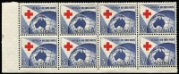 Lot 288:1954 Red Cross 3½d Plate No. 3 block of 8 with 'no dashes' bottom left, BW #312zj, Cat $200.