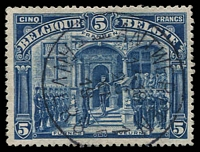 Lot 833:1919 King Albert At Fernes 5f deep blue 'FRANKEN', nice Antwerp cds. SG #193, Cat £225.