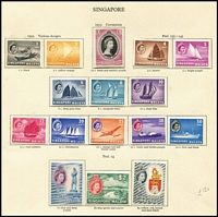 Lot 1436 [3 of 5]:1950s QEII Definitives 1st series range of 60+ issues incl Aden, Bahamas 1954 (16), Bermuda (16), Cyprus 1954 (15), Falkland Deps 1954 (15), Gibraltar 1953 (14), Hong Kong 1954 (12), India 1955 (18), KUT 1954-55 (12), Kuwait, Mauritius 1954-58 (15), Penang, Seychelles 1954 (15), Singapore 1954 (15), Somaliland 1953 (11), etc. Cat £4,500+. (100s)