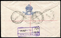 Lot 334 [2 of 2]:1948 Registered Cover to Australia with ½d to 5/- (Thick Paper) tied by 'AUST UNIT POSTAL STN/497' cds used at Kure. The registration handstamp on reverse.
