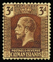 Lot 1335:19321-26 KGV Wmk Mult Crown 3d purple on pale yellow, Wmk inverted, very lightly mounted. SG #60bw, Cat £375.