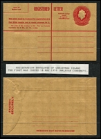 Lot 452 [2 of 5]:Registration Envelopes incl 1959 30c (Malayan currency x4, two showing vertical red line does not extend to the bottom of the envelope), 1970 25c (Australian currency x2), 1973 53c (3, incl one CTO). (7)