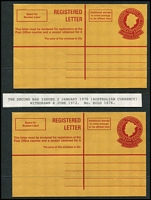 Lot 452 [3 of 5]:Registration Envelopes incl 1959 30c (Malayan currency x4, two showing vertical red line does not extend to the bottom of the envelope), 1970 25c (Australian currency x2), 1973 53c (3, incl one CTO). (7)