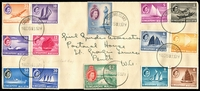 Lot 418:1958 (Oct 14) Cover to Girl Guides Assoc in Melbourne with Singapore QE Picts to $2 tied by 6 strikes of 'CHRISTMAS ISLAND/14OCT58■330PM' cds. The last day of use on the Island for Singaporean stamps. No markings on reverse.