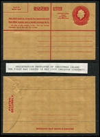 Lot 415 [2 of 5]:Registered Envelopes: incl 1959 30c (Malayan currency x4, two showing vertical red line does not extend to the bottom of the envelope), 1970 25c (Australian currency x2), 1973 53c (3, incl one CTO). (7)