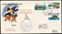 Lot 1361 [2 of 2]:1955-84 Cover selection incl 1957 1st Cocos-Mainland flight (7 covers, all different and all with triangular cachet), 1963 Picts (3 sets on 4 FDCs all with oval cachets), 1969 Picts (12, on 4 FDCs with purple FD cancels), and complete to 1984 (ex 1981 Darwin M/S & 1984 Ausipex) also few Australian items with Cocos postmarks. Many items are unaddressed. (50+)