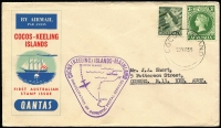 Lot 453 [1 of 2]:1955-84 Cover selection incl 1957 1st Cocos-Mainland flight (7 covers, all different and all with triangular cachet), 1963 Picts (3 sets on 4 FDCs all with oval cachets), 1969 Picts (12, on 4 FDCs with purple FD cancels), and complete to 1984 (ex 1981 Darwin M/S & 1984 Ausipex) also few Australian items with Cocos postmarks. Many items are unaddressed. (50+)