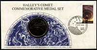Lot 119 [2 of 5]:Coins & Medals Selection incl 1995 Weary Dunlop 50c PNC, 1998 Bass & Flinders PNC, also 1977 QE Silver Jubilee Visit sterling silver proof medal in special folder and 1986 Halley's Comet 24 carat gold on bronze medal enclosed in a commem cover. (4 items)
