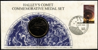 Lot 97 [2 of 5]:Coins & Medals: Selection incl 1995 Weary Dunlop 50c PNC, 1998 Bass & Flinders PNC, also 1977 QE Silver Jubilee Visit sterling silver proof medal in special folder and 1986 Halley's Comet 24 carat gold on bronze medal enclosed in a commem cover. (4 items)