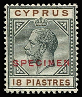 Lot 1407 [2 of 2]:1921-23 Wmk Mult Script CA 18pi optd 'SPECIMEN' in red & 45pi optd 'SPECIMEN' in black, SG #98s-99s, Cat £365 as unoverprinted stamps. (2)