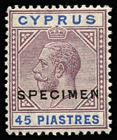 Lot 1407 [1 of 2]:1921-23 Wmk Mult Script CA 18pi optd 'SPECIMEN' in red & 45pi optd 'SPECIMEN' in black, SG #98s-99s, Cat £365 as unoverprinted stamps. (2)