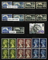 Lot 12 [3 of 4]:British Commonwealth including Canada 1928-29 20c, 50c Bluenose & $1 Parliament, all with parcel cancels, GB QV Jubilees to 1/- (both), KEVII 2d to 1/-, KGV Seahorses 1913-19 2/6d, 5/- (2), KGVI 1939-48 High Values 10/- dark blue (2), £1 (2), 1948 Wedding £1, 1951 Festival £1 (2), Hong Kong $50 (3), Ireland, NZ, Trinidad & Tobago QE $4.80, etc. Generally fine. (180)
