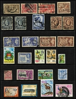 Lot 12 [1 of 4]:British Commonwealth including Canada 1928-29 20c, 50c Bluenose & $1 Parliament, all with parcel cancels, GB QV Jubilees to 1/- (both), KEVII 2d to 1/-, KGV Seahorses 1913-19 2/6d, 5/- (2), KGVI 1939-48 High Values 10/- dark blue (2), £1 (2), 1948 Wedding £1, 1951 Festival £1 (2), Hong Kong $50 (3), Ireland, NZ, Trinidad & Tobago QE $4.80, etc. Generally fine. (180)