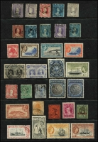 Lot 13 [2 of 3]:British Commonwealth QV-QE incl Antigua 1938-51 Picts to 5/-, Bahamas 1931-46 2/- (2), Falkland & Deps, Ireland 1922-23 2/6d Seahorse, Natal, Penrhyn, St. Helena 1938-44 Badge to 10/- (ex 3d blue), St. Lucia 1949-52 Dues (4), Samoa, 1921 Huts (16), South Africa 1933-48 1½d pair, one unit Flag on chimney at right, Transvaal small album of 1885-1901 forgeries or reprints. (100s)