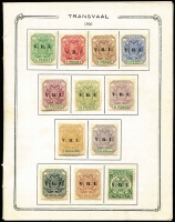 Lot 13 [3 of 3]:British Commonwealth QV-QE incl Antigua 1938-51 Picts to 5/-, Bahamas 1931-46 2/- (2), Falkland & Deps, Ireland 1922-23 2/6d Seahorse, Natal, Penrhyn, St. Helena 1938-44 Badge to 10/- (ex 3d blue), St. Lucia 1949-52 Dues (4), Samoa, 1921 Huts (16), South Africa 1933-48 1½d pair, one unit Flag on chimney at right, Transvaal small album of 1885-1901 forgeries or reprints. (100s)