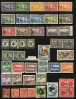 Lot 13 [1 of 3]:British Commonwealth QV-QE incl Antigua 1938-51 Picts to 5/-, Bahamas 1931-46 2/- (2), Falkland & Deps, Ireland 1922-23 2/6d Seahorse, Natal, Penrhyn, St. Helena 1938-44 Badge to 10/- (ex 3d blue), St. Lucia 1949-52 Dues (4), Samoa, 1921 Huts (16), South Africa 1933-48 1½d pair, one unit Flag on chimney at right, Transvaal small album of 1885-1901 forgeries or reprints. (100s)