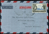 Lot 18 [1 of 2]:British Solomons Formular Stationery - Aerogrammes 1954-59 Design similar to Australian 1954-59 10d aerogramme ACSC A8 from the Bishop of Melanesia, Honiara to Rev. Voyce in Buka, ACSC FA3D.