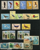 Lot 19 [1 of 2]:British Territories incl B.A.T. 1973-81 Explorers (15), and several commem sets; B.I.O.T. 1968-70 Marine Life several values incl 5r & 10 r on piece, 1975 Bird (14, ex 95c), 1975 Wildlife (2 sets). (50+)
