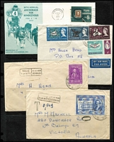 Lot 15 [2 of 3]:Cover Selection from Belgian Congo taxed items, Canada, France 1957 Airmail cover to Australia with 100f & 200f in pairs plus 500f Planes, GB, KUT, NZ few FDCs, Peru, USA, Zambia, some dog related covers. Mixed condition. (130+)