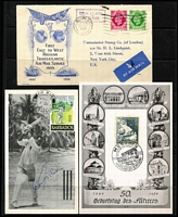 Lot 29 [2 of 2]:Covers incl Australia & Territories, Barbados 1960s autographed 'Garfield Sobers' PPC, Fiji, Germany 1942 Censored POW letter to Australia, Great Britain 1939 1st East to West Regular Transatlantic Air Mail Service cover to New York, New Zealand, few Flight covers, also range of Official Philatelic Bureau covers from Barbados, Belize, Bermuda, Botswana, Christmas Island, Fiji, Finland, Gibraltar, Gilbert & Ellice, Malta, New Zealand, Solomon Islands. Generally fine. (Approx 150)